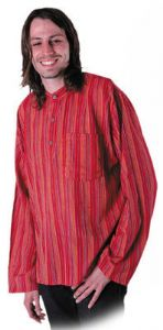 Hippy Top~Unisex XXXL  Ethnic Hippy Stripey Grandad Shirt~Fair trade through Folio~9744